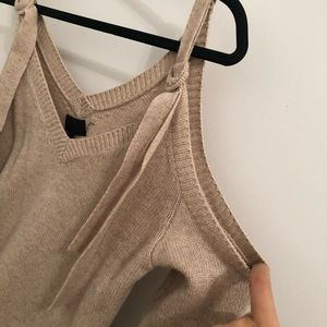 Intermix cold shoulder sweater